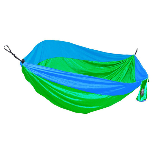 Two Person Vibrant Green & Teal Blue Travel Hammock