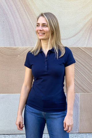 UQ Logo Ladies Polo Navy