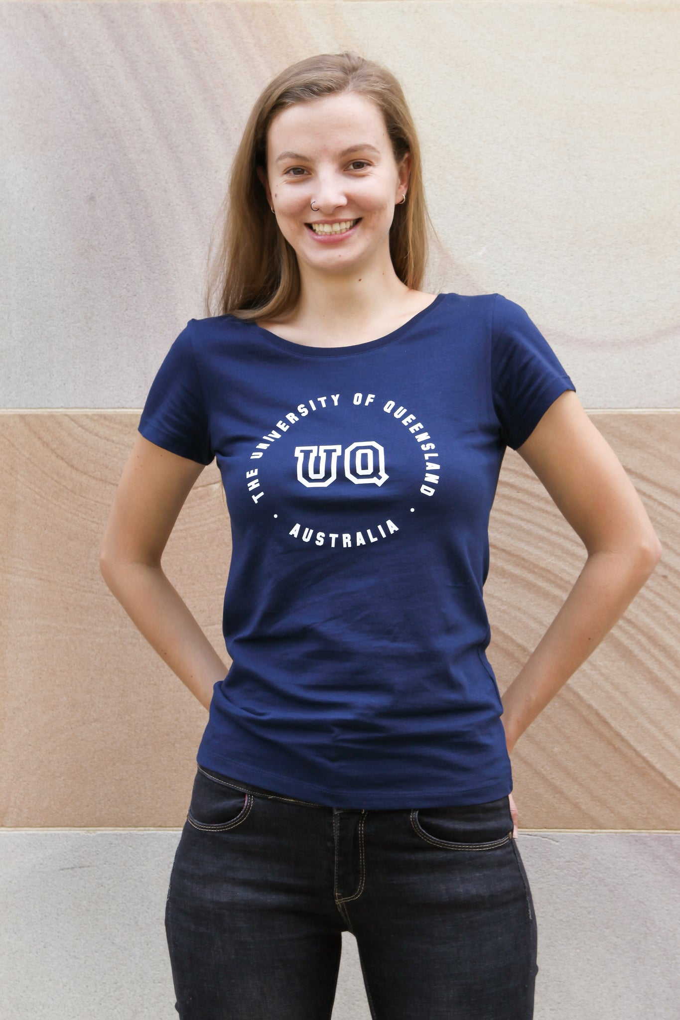 UQ Circle Print Ladies Tee - Navy
