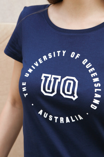 UQ Circle Print Ladies Tee-Navy