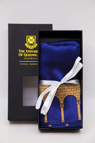 UQ Silk Scarf with Gift Box - Walkway Blue/Gold