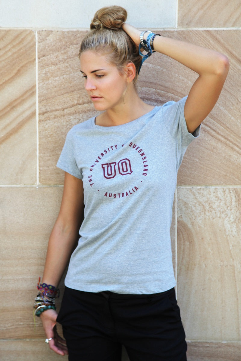 UQ Circle Print Ladies Tee - Grey