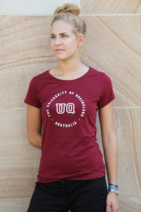 UQ Circle Print Ladies Tee-Maroon
