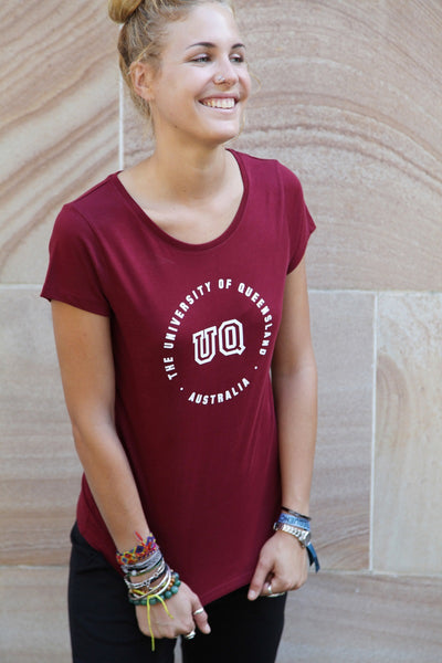 UQ Circle Print Ladies Tee - Maroon