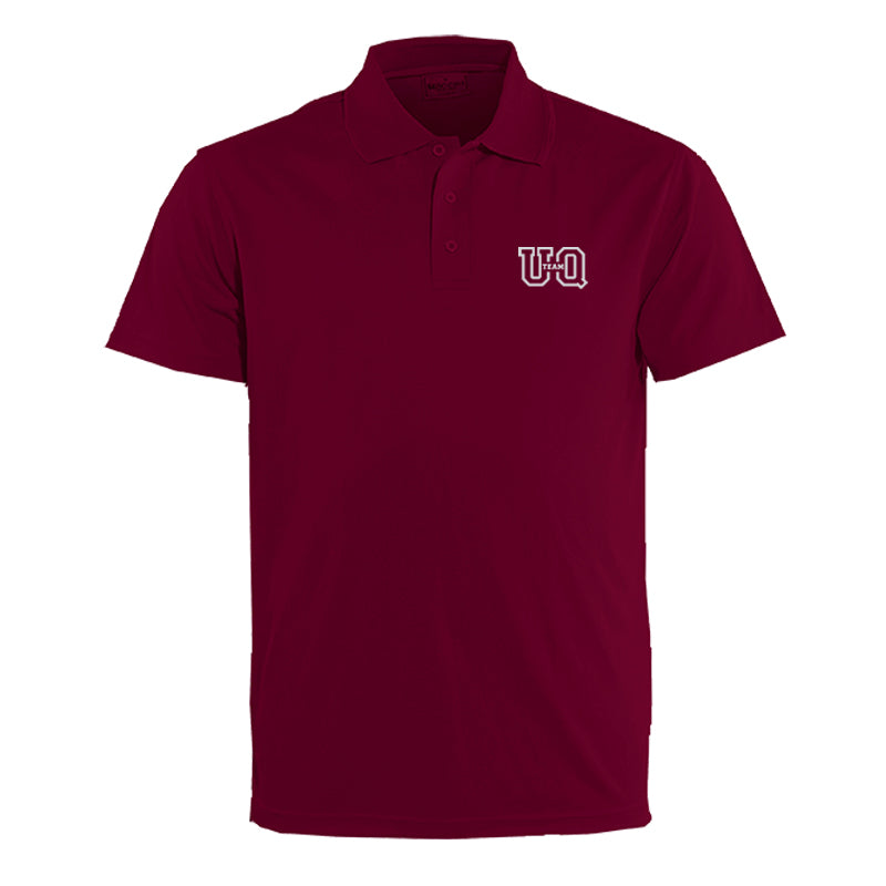 Team UQ Men's Polo Embroidered Stacked Logo Maroon