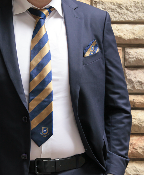 UQ Silk Tie and Pocket Square with Gift Box - Blue/Gold