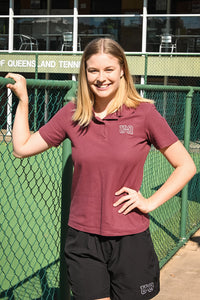 Team UQ Womans Polo Embroidered Stacked Logo Maroon