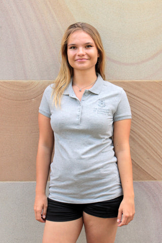 UQ Logo Ladies Polo Heather Grey