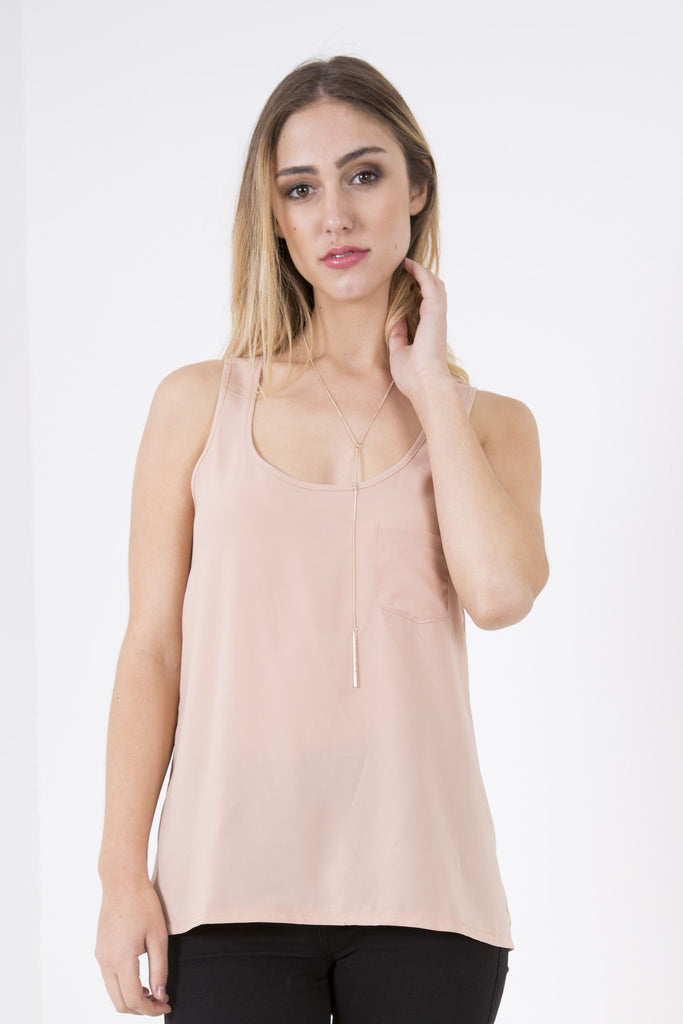 Pocket Basic Tank - Nude