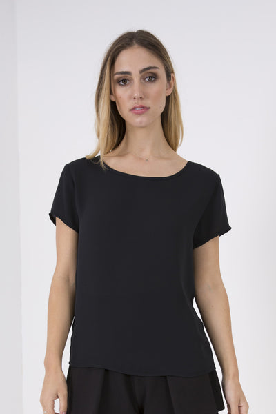 Light Crepe T-Shirt - Black