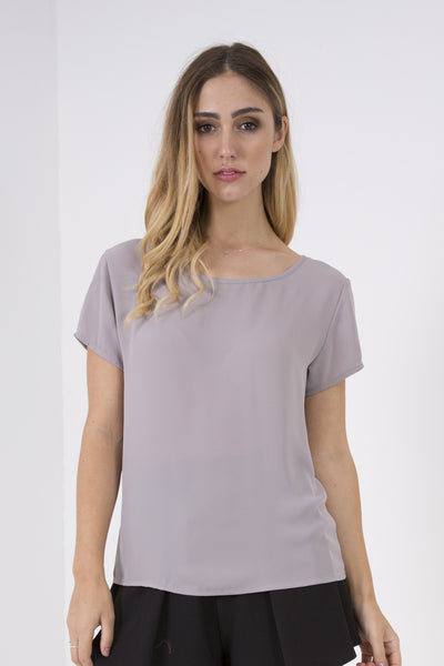 Light Crepe T-Shirt - Grey