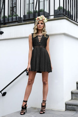 Athena Lace Dress Black