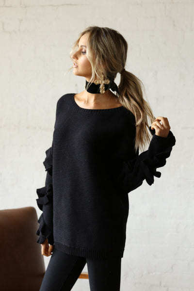 Hadid Ruffle Knit - Black