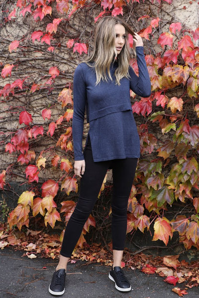 Hana Overlay Knit Top - Navy