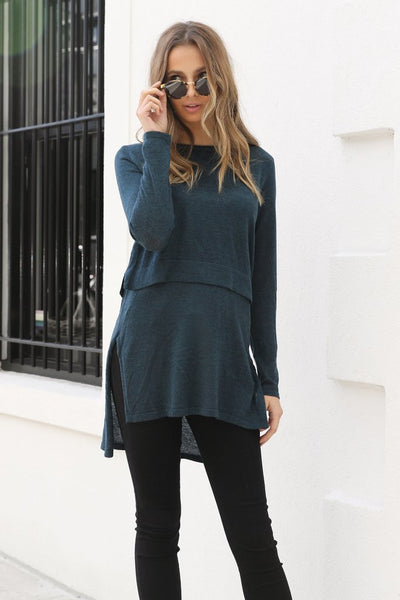 Hana Overlay Knit Top - Teal