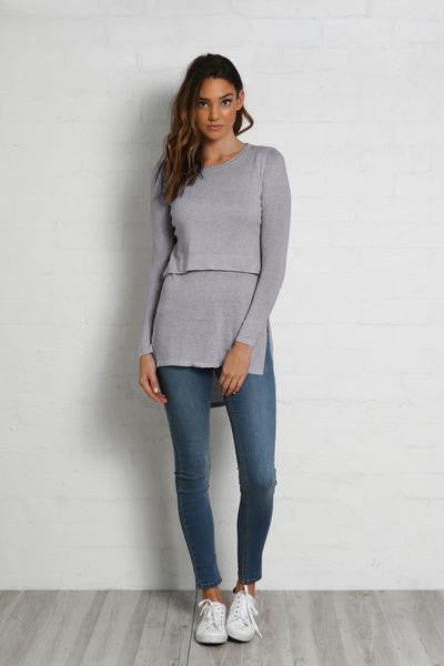 Hana Overlay Knit Top - Lilac Grey