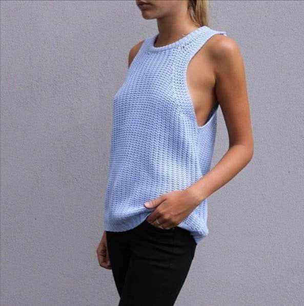 Luxe Knitted Tank - Blue
