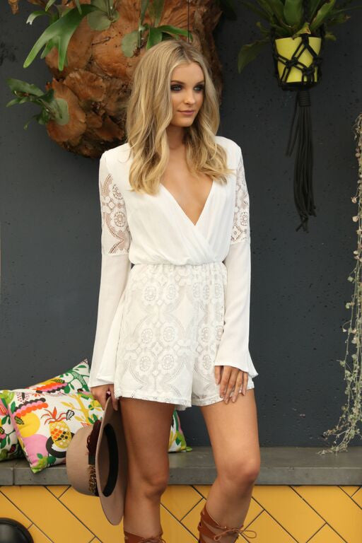 Secret Garden Romper - White