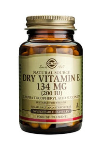 Dry Vitamin E 134 mg (200 IU) 50 Vegetable Capsules - Health Emporium