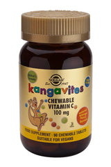 Kangavites Chewable Vitamin C 100 mg Tablets Natural Orange Burst