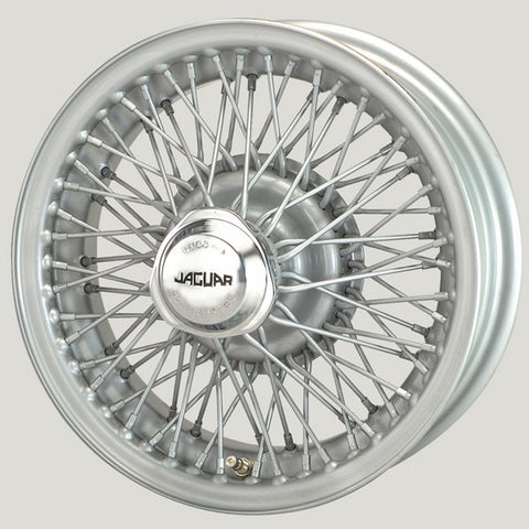 "XW455S-TL SILVER PAINTED 5"" X 15"" CURLY HUB WIRE WHEEL DAIMLER V8/MK1/MK2/E-TYPE S1/S-TYPE/420"
