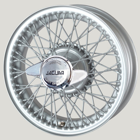 "XW456S-TL SILVER PAINTED 5"" X 16"" WIRE WHEEL XK120/X140/XK150"