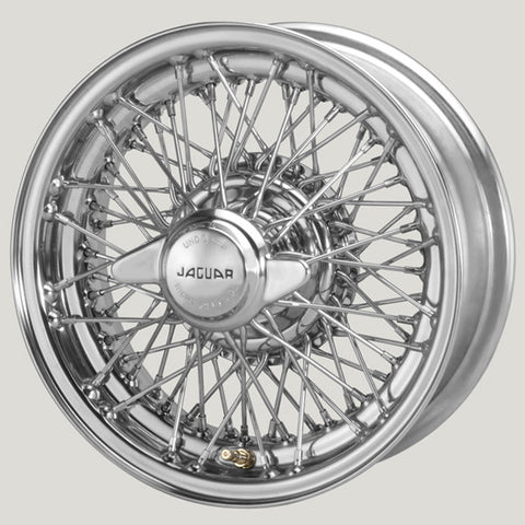 "XW5744C/3-TL CHROME JAGUAR COMPETITION 5.5"" X 15"" WIRE WHEEL"