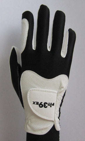 white and black golf glove