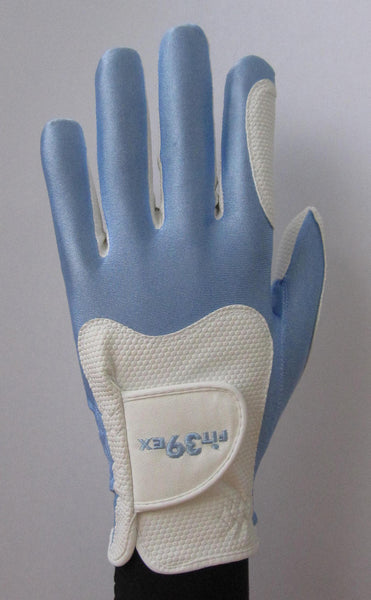 blue and white glove
