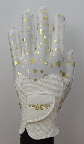 FIT39 Golf Glove - Heart Gold/White