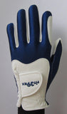 blue and white golf gloves