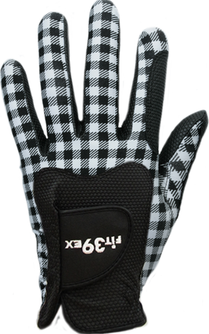 FIT39 Golf Glove - Black Check/Black