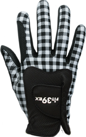 ladies black and white checkered golf glove
