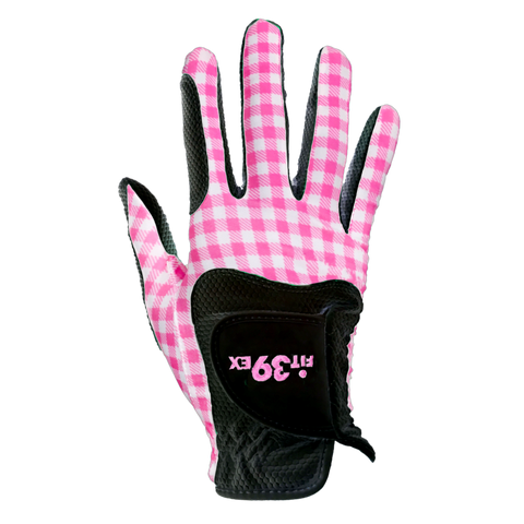 FIT39 Golf Glove - Check Pink/Black (Right-Hand)