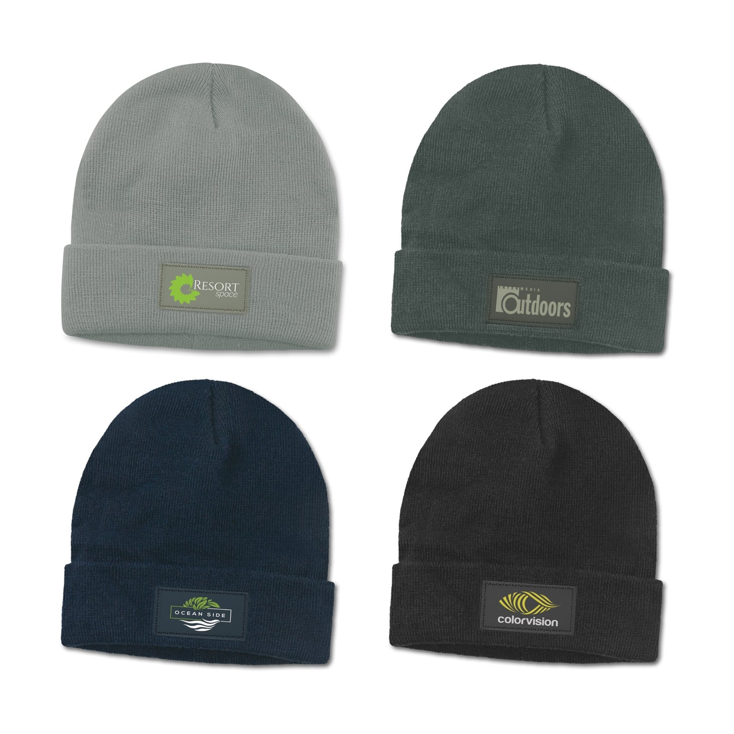 Roll Up Cuff Beanie with Patch(SHW-27T)