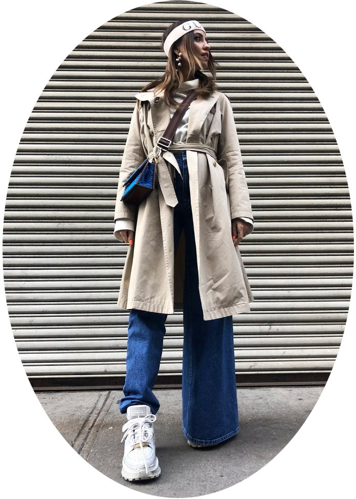 Nadya Dorofeeva in Asymmetrical jeans during NYFW