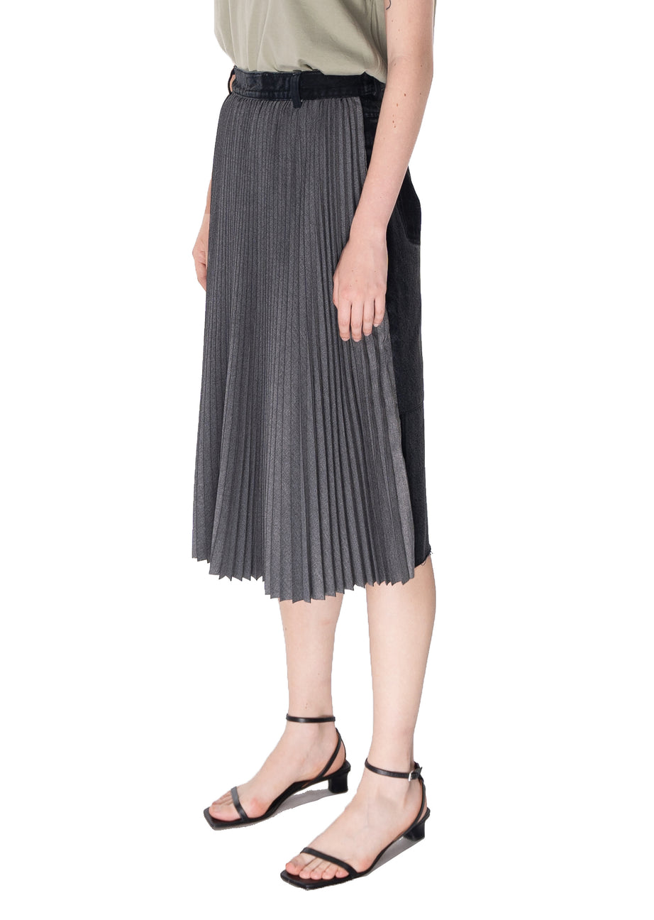 Midi Denim Skirt with a Pleated Part