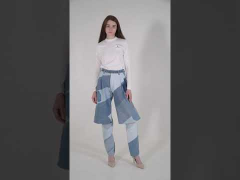 Reworked Diagonal Patchwork Demi-Denims
