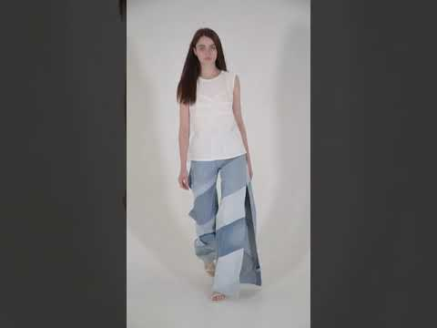 Reworked Diagonal Patchwork Wide Jeans