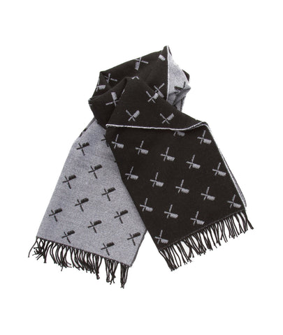 DISTORTED PEOPLE ALLOVER BLADES SCARF BLACK