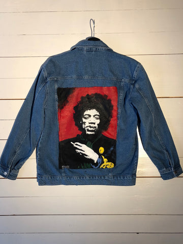 JIMI HENDRIX DENIM JACKET BY LUNATICA ART