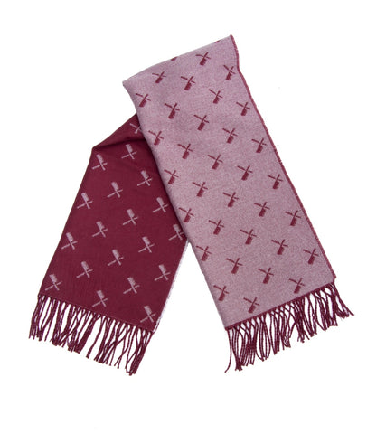 DISTORTED PEOPLE ALLOVER BLADES SCARF burgundy/grey