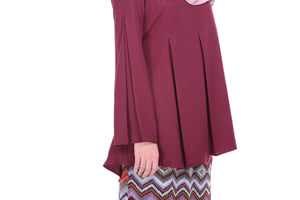 Maryam Kurung in Maroon - moderee - 3