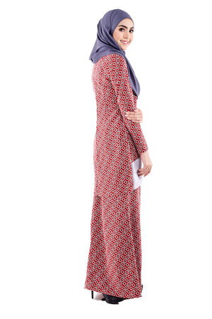 Aesha Kurung in Ruby Red & Grey - moderee - 2