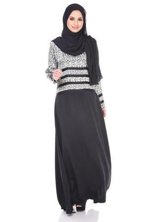 Salma Dress in Black & White - moderee - 1