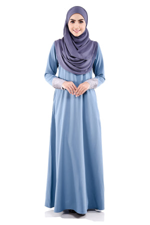 Izzah Jubah in Steel Blue - moderee - 1