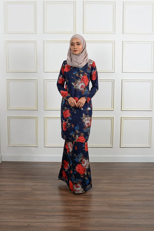 Melora Kurung in Oxford Blue