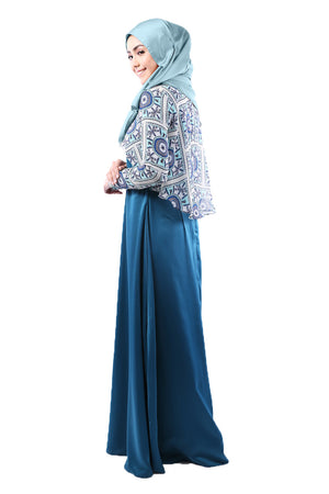 Zara Dress in Atlas Blue Floral - moderee - 2