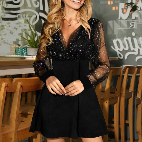V-Neck Sexy Long Sleeve High Waist Dress
