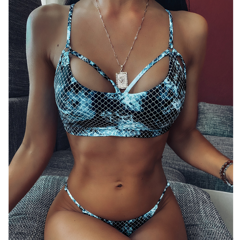 Fashion Split Fish Scale Print Bikini Swimsuit